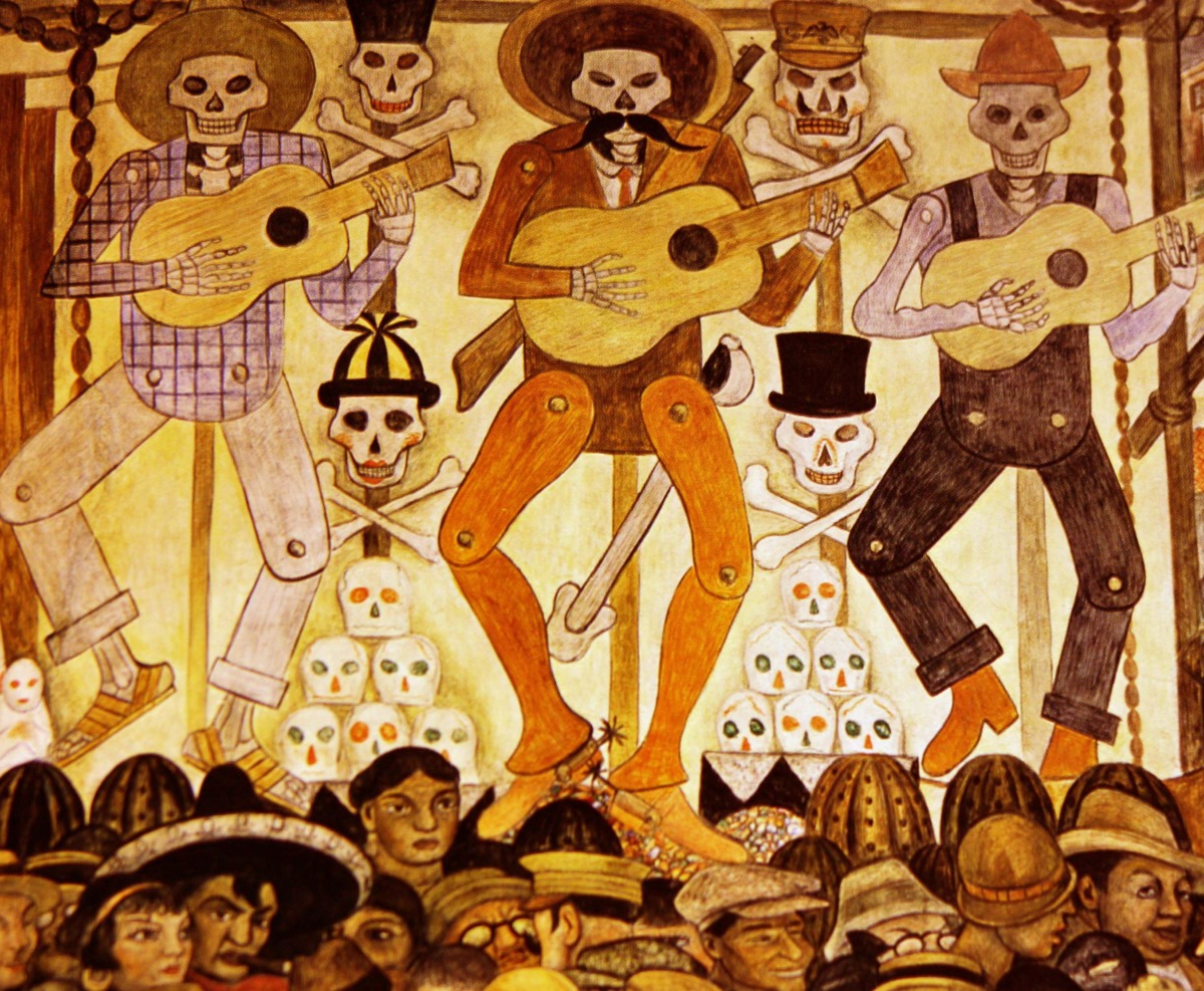 Detail of Diego Rivera mural depicting Día de los Muertos festival, commissioned for the Public Education Ministry in Mexico City in 1923.