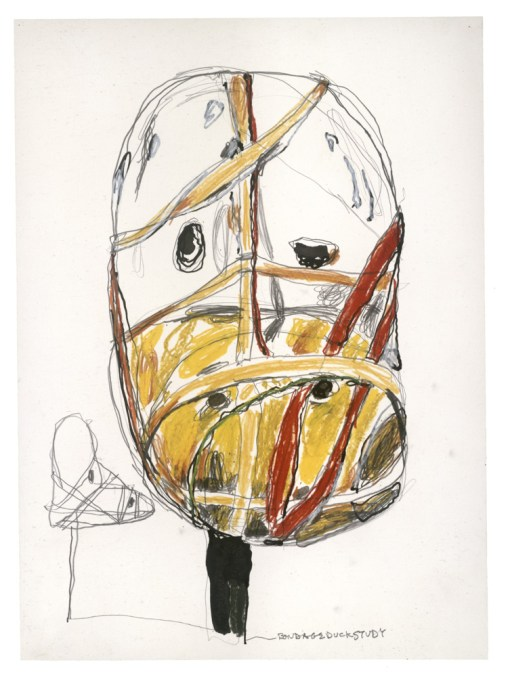 Al Taylor (American, 1948–1999), Bondage Duck Study, 1998, pencil, ink, acrylic mica mortar, graphite, colored pencil, China marker grease pencil, and wax crayon on paper. CollectionDebbie Taylor, New York.
