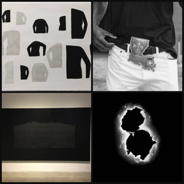 """Counterclockwise from left: Amy Pleasant, """"Untitled (Arms);"""" Jeremiah Ariaz, """"Louisiana Buckle, (Sulphur, LA);"""" Garrett Hansen, Void – .38 Special;"""" and Paul Stephen Benjamin, """"Paint The White House Black."""""""