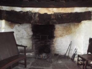 hearth and fireside chair in drovers' inn at Ty Mawr