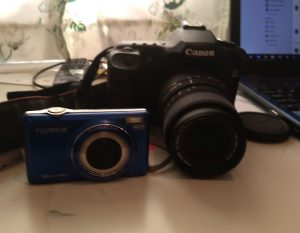 fuji compact camera and canon digital
