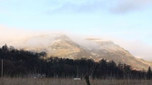 snow and mist on the Ochil hills