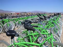 burning man yellow green bikes