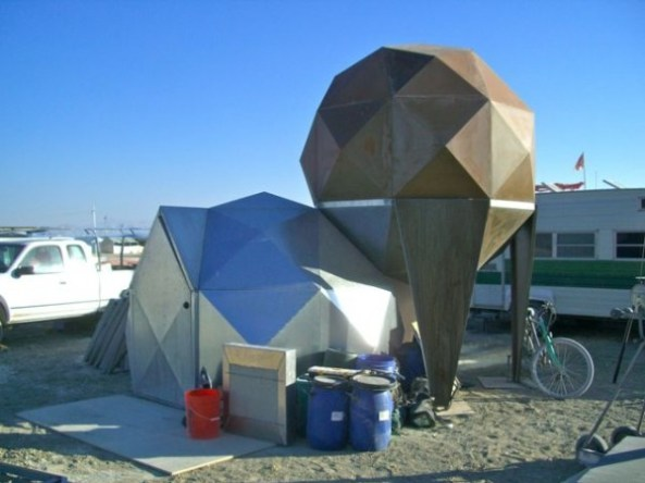 Yurts connected to art projects