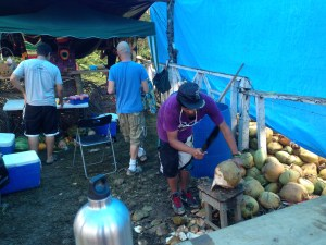 At the ticket checkpoint, you can get a coconut