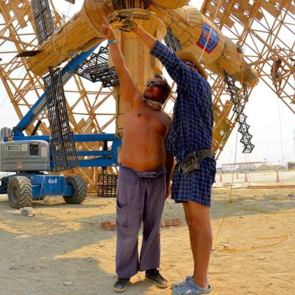 Mironov (left) at the Cradle of MIR build site; Burning Man 2013