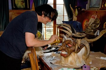 Al Ridenour works on a Krampus mask - PHOTO: Phil Glau