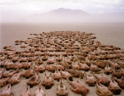 Artist: Spencer Tunick. Burning Man 2000
