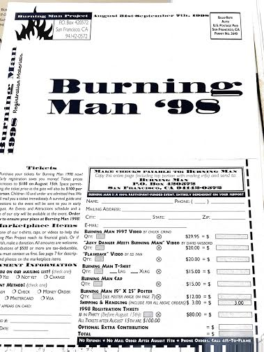 burning man 98 tshirt list