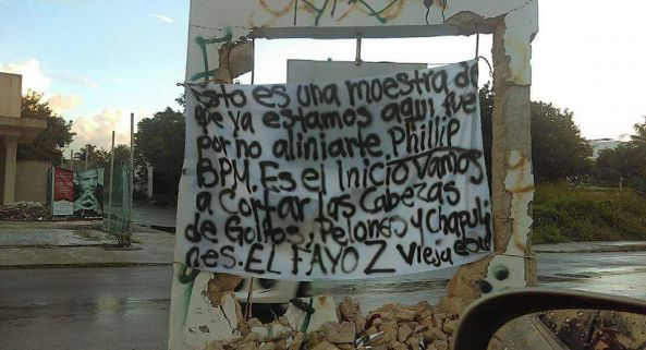 Narco-sign in Playa Del Carmen after BPM shooting