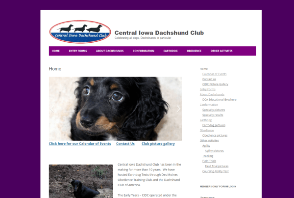 Central Iowa Dachshund - Iowa nonprofit web development