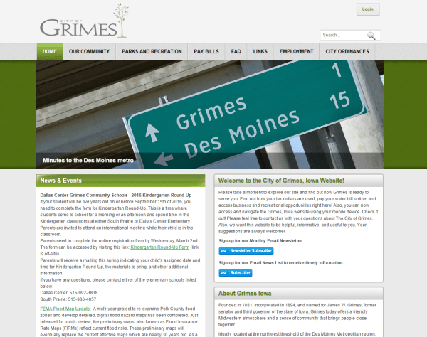 Grimes Iowa - Iowa DNN Evoq web development