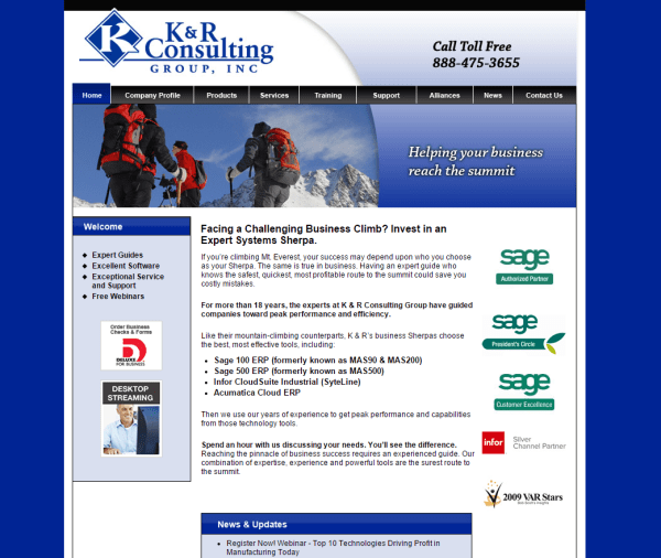 K and R Consulting - MAS 90 web programming Iowa