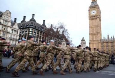 Armed Soldiers on patrol, London