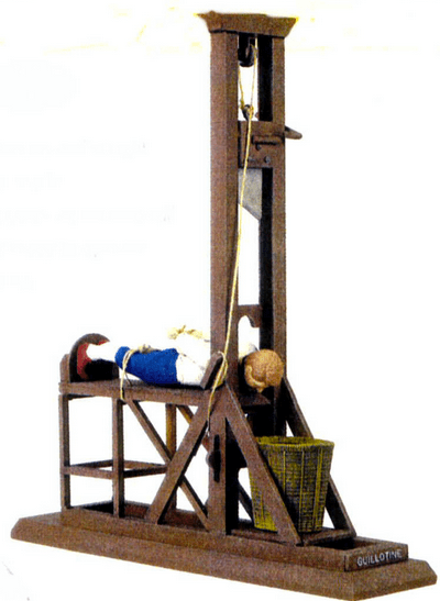 Re-enactment of guillotine suicide