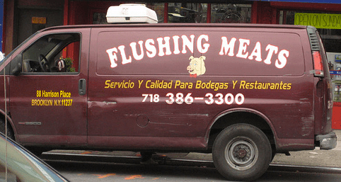 The baleful exterior of the Flushing Meats van