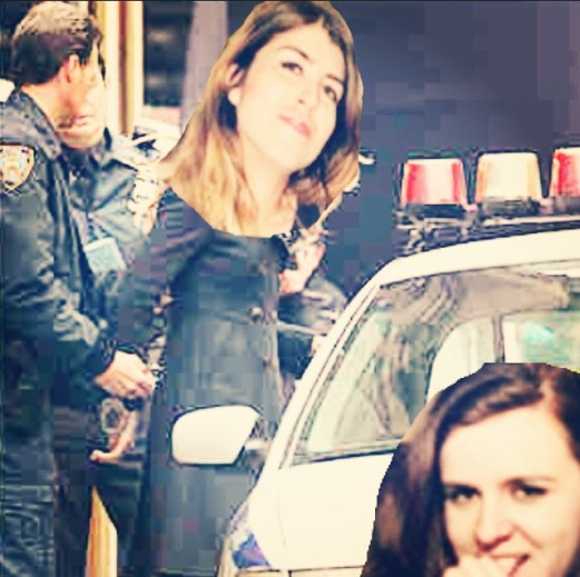 Candid shot of Smoking Barrel laughing diabolically as she gets arrested; Bensonia looks on excitedly--almost erect at not having to deal with her shit for a night
