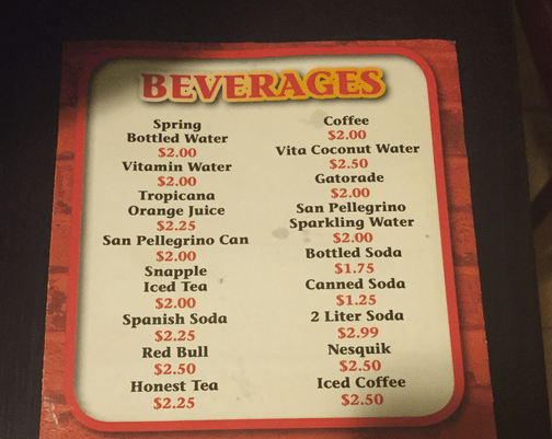 "The unique beverage selection at OMG includes ""Spanish"" Soda, Red Bull and Nesquik"