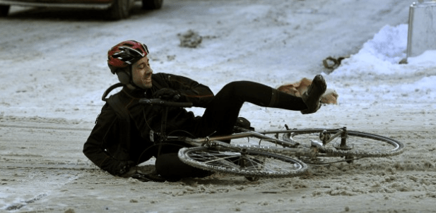 Even cyclists can't seem to fight the contempt they have for black ice