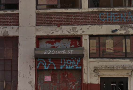 The crudely marked building