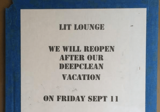 Per the Lit Lounge's exterior