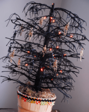 dead christmas trees are getting a halloween spin in new bushwick art show