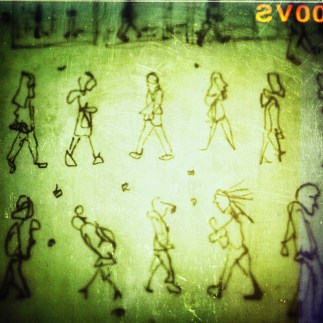 75/365. Various folks walking down Whiteladies. Drawn without looking. Snapseed accident. Pencil. Notebook: Ethel