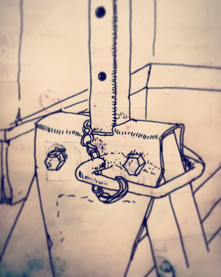 103/365 Fixing mechanism on the Draper Telescopic Trestle that supports my standing desk. Drawn whilst waiting for a thing. Uni ball micro. 7 mins. Notebook: Ethel.