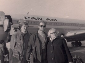 My uncle, father, and great-grandmother Laura (Bunica), fresh off the plane at JFK.