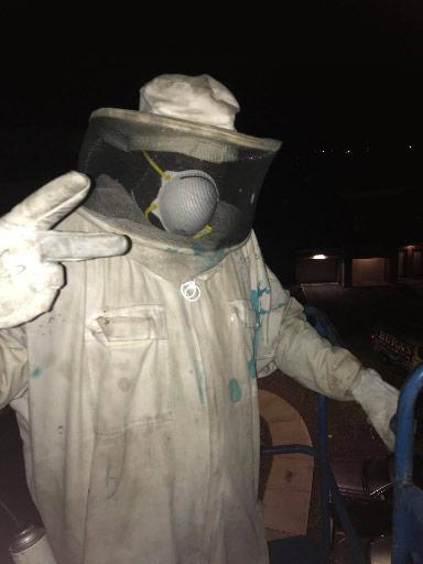 Man in bee keeper suit.