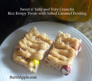 Sweet n' Salty and Very Crunchy Rice Krispy Treats with Salted Caramel Sauce and Pretzel M&M's