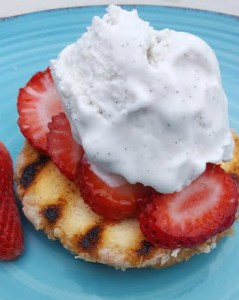 Grilled Donuts with Strawberries and Cream