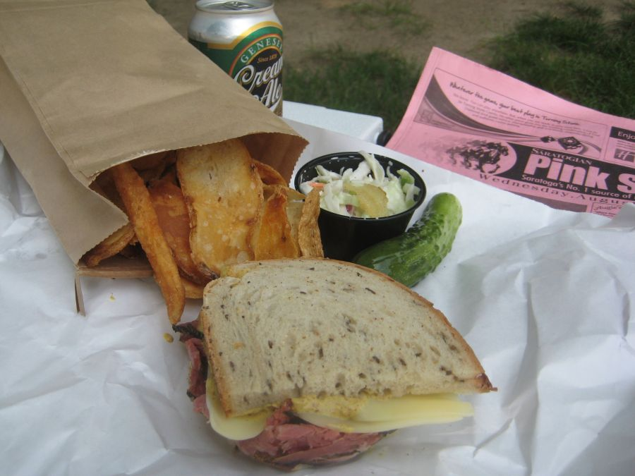 My trackside lunch from Ben & Bill's Deli, Saratoga Springs NY