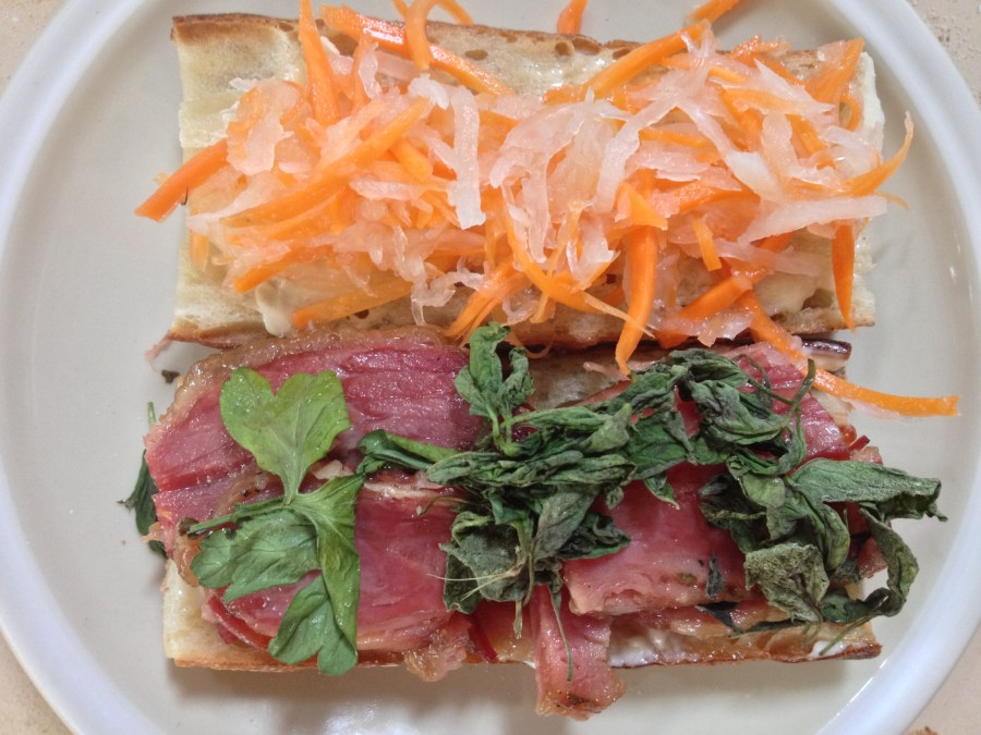 Corned Beef Bahn Mi open face
