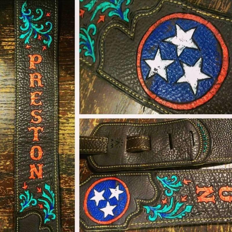 BurnWizard Preston Tennessee stars guitar strap custom burnmethod