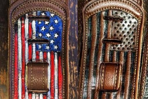 BurnWIzard American flag guitar strap leather