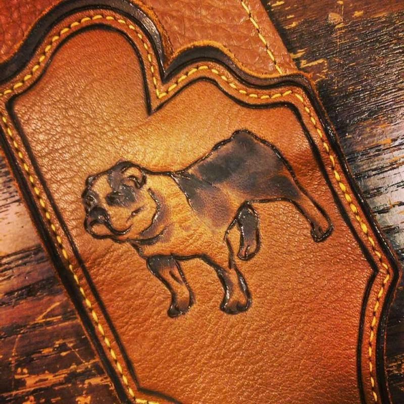 Burnwizard English bulldog pet portrait on leather guitar strap