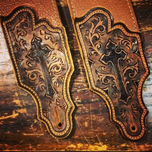 BurnWizard cross religious custom leather guitar strap