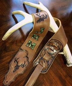 BurnWizard Deer Hunter custom guitar strap personalized camo