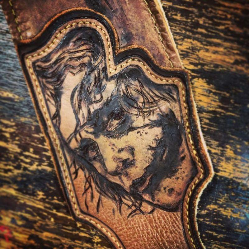 Burnwizard joker fan art DC portrait leather art guitar strap