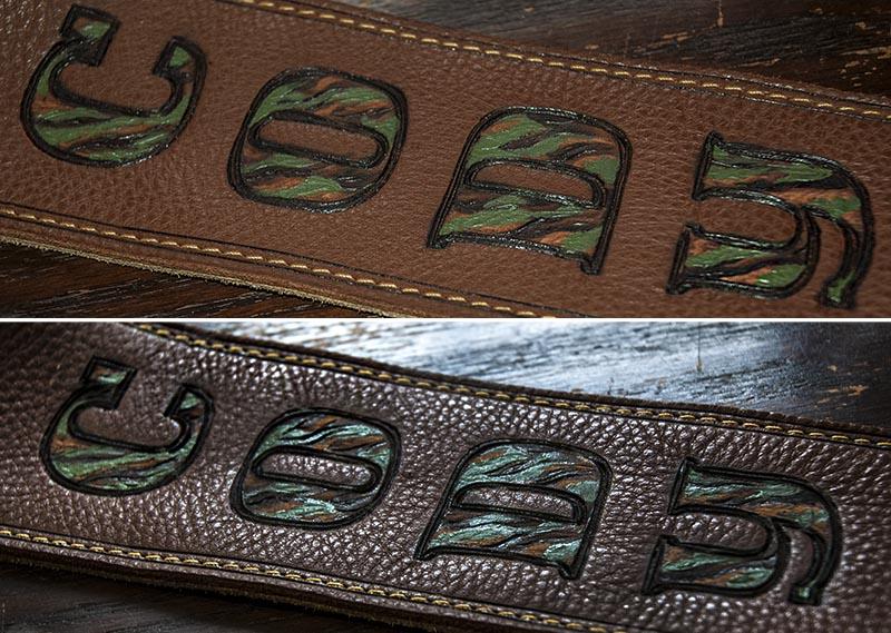 Burnwizard camo font personalized guitar strap