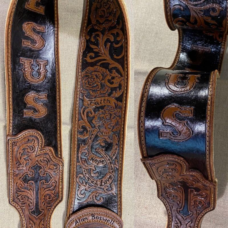 burnwizard leather guitar strap jesus religious western scrollwork