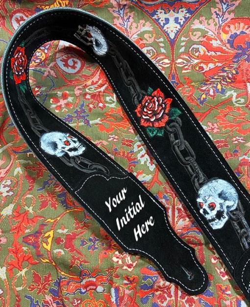skull rose chain black suede custom burnwizard guitar strap