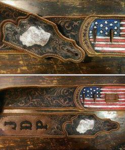 wisconsin state burnwizard scrollwork american flag guitar strap custom