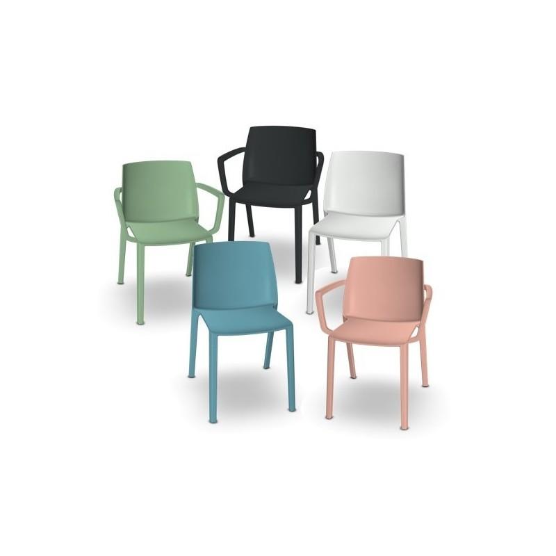 chaise soleo en abs monocoque de couleur harmony accoudoirs sans couleur cc coco