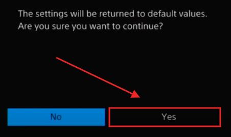 Restore Default Setting PS4