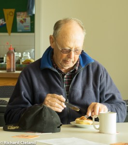 """Gordon """"The Chook Man""""Kakoschke eating a chicken pie."""