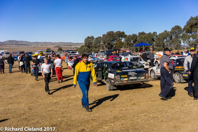 Competitors park their vehicles after the morning section & head in for lunch