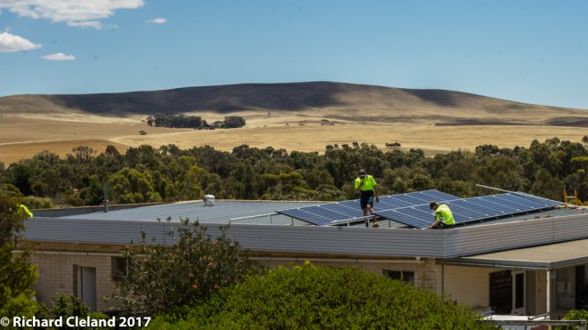 The solar panels being installed