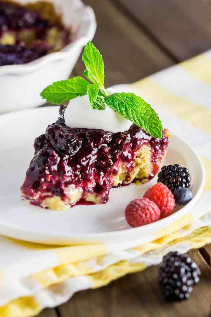 A side view of the mixed berry-custard pie.